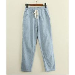 Mushi - Pinstriped Drawstring Pants