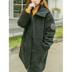 LOLOten - Appliqué Hooded Zip-Up Coat