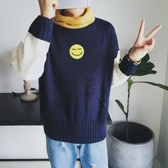 Breeson - Smiley Applique Color Block Turtleneck Sweater