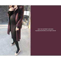 MARSHMALLOW - Maternity V-Neck Knit Midi Dress