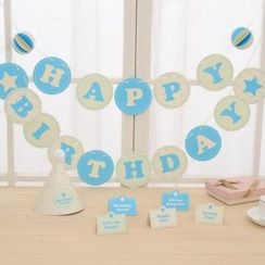 Homey House - Set: Birthday Party Bunting + Card + Party Hat