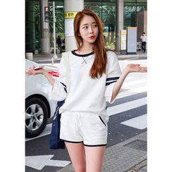 Chlo.D.Manon - 套裝:配色邊棉質T恤 + 運動短褲