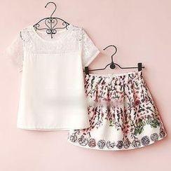 Munai - Set: Lace-Panel Chiffon Top + Floral Skirt