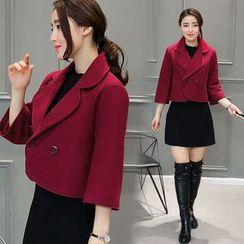 Eighoo - 3/4-Sleeve Double-Breasted Jacket