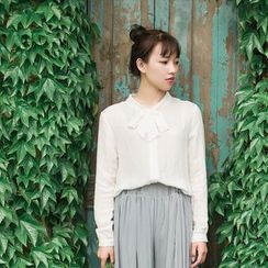 tete - Long-Sleeve Tie-Neck Shirt