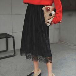 Waypoints - Lace Hem Pleated Midi Skirt