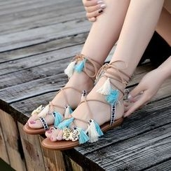 Zandy Shoes - Tasseled Tie-Ankle Flat Sandals