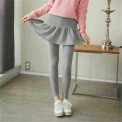 ode' - Inset Skirt Brushed Fleece Lined Leggings
