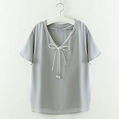 Meimei - Short-Sleeve Tie Front Chiffon Blouse