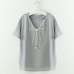 Meimei - 短袖领带前雪纺衬衫