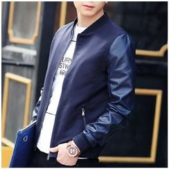 ZONZO - Faux Leather Sleeve Zip Jacket