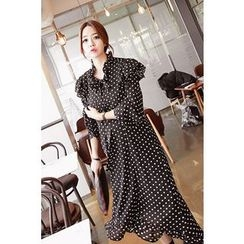 Momnuri - Maternity Polka-Dot Frilled Chiffon Dress
