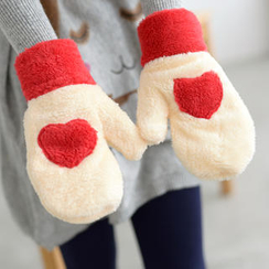 59 Seconds - Heart-Appliqué Fleece Mittens
