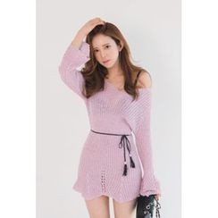 migunstyle - Off-Shoulder Knit Minidress with Cord