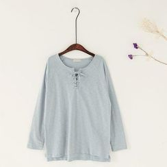 11.STREET - Lace Up Long-Sleeve T-shirt