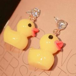 Ticoo - Yellow Bathing Duck Rhinestone Ear Stud