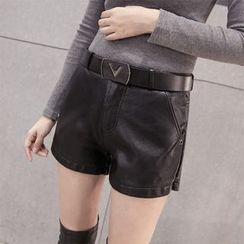 Shinbell - Faux-Leather Fleece-Lined Shorts