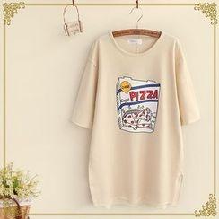 Fairyland - Print Side Slit Crewneck T-Shirt