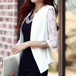 Eloqueen - Lace-Sleeve Single-Button Blazer