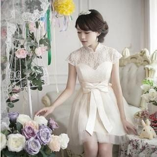 Fantasy Bride - Cap-Sleeve Mandarin-Collar Lace A-Line Cocktail Dress