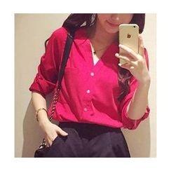 Sienne - Tab-Sleeve Chiffon Shirt