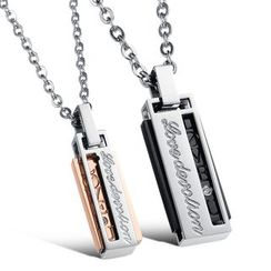 Tenri - Engraved Couple Matching Stainless Steel Necklace