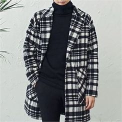 MITOSHOP - Dual-Pocket Single-Breasted Plaid Coat