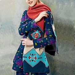 妖精的口袋 - 幾何波普印花復古圍巾