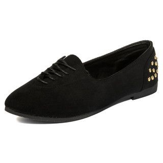 yeswalker - Faux Suede Studded Lace-Up Flats