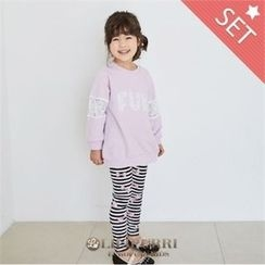 LILIPURRI - Set: Lettering Long T-Shirt + Striped Leggings