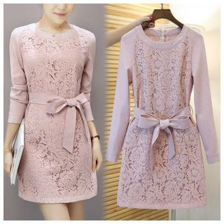 Ashlee - Tie-waist Long-Sleeve Lace Dress