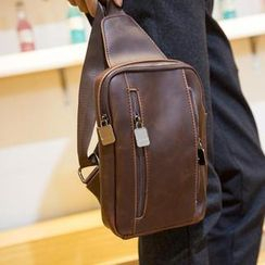 Yiku - Faux-Leather Sling Backpack