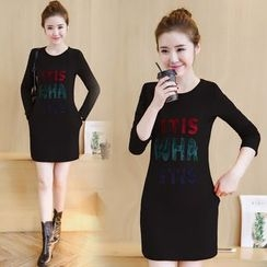 Emeline - Long-Sleeve Lettering Sheath Dress