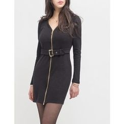 GUMZZI - V-Neck Zip-Up Dress With Belt