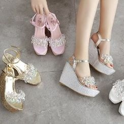 Mancienne - Jeweled Wedge Sandals