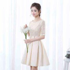 Gracia - Lace-Panel Bridesmaid Dress