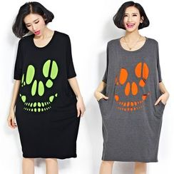 Carabecca - Skull Printed Short-Sleeve T-shirt Dress