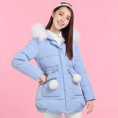 Pipafellow - Furry-Trim Hooded Padded Zip Coat