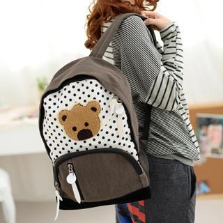 59 Seconds - Polka Dot Denim Backpack with Bear Appliqué