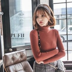 PUFII - Turtleneck Ribbed Knit Top