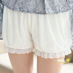 MITU - 薄款蕾丝双层网纱安全裤
