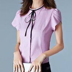 Fumoya - 蝴蝶结短袖衬衫