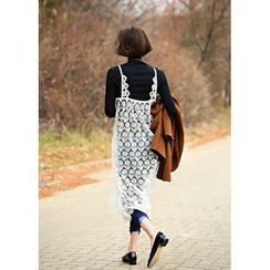 ssongbyssong - Spaghetti-Strap Laced Long Dress