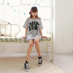 Cocopop - 'Dive' Printed Long T-Shirt