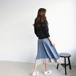 Hello sweety - Color-Block Accordion-Pleat Skirt
