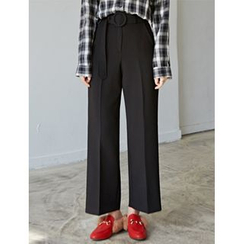 FROMBEGINNING - Flat-Front Wide-Leg Pants with Belt