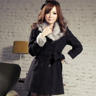JK2 - Faux-Fur Collar Tie-Waist Coat