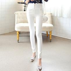 Sofia - Scallop Waist Zipped Skinny Pants