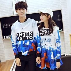 Azure - Couple Matching Printed Baseball Jacket / Coatdress