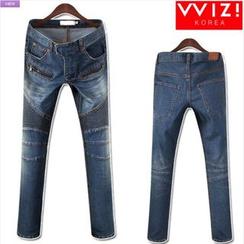 WIZIKOREA - Zip-Pocket Seam-Trim Jeans